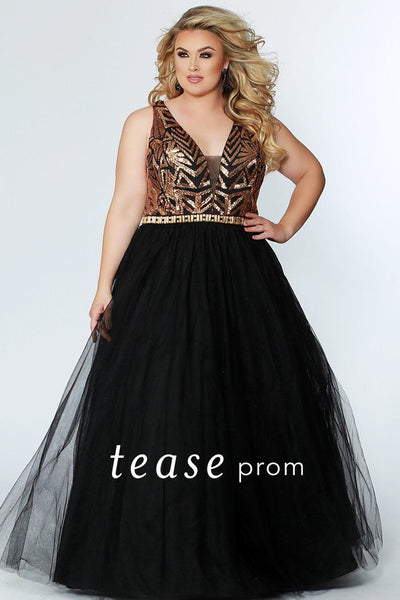 TE1917 black and gold sequin plus size prom ballgown with heavily sequined bodice, beaded belt and tulle skirt with pockets