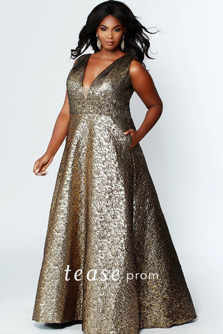 2289ea464ab TE1918 elegant bronze brocade jacquard fabric prom or formal gown with  bra-friendly straps