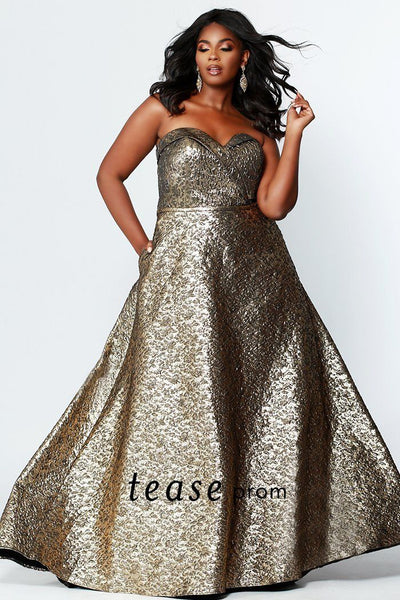 TE1918 elegant bronze brocade jacquard fabric strapless prom or formal gown, pockets and a-line skirt