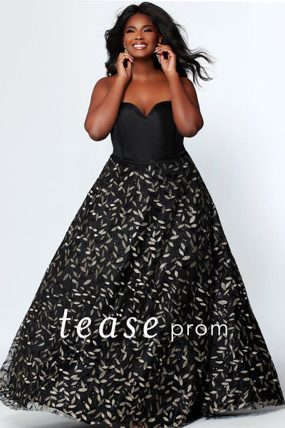 TE1920 strapless a-line prom or formal gown for plus size 14-32; modern floral embroidered pattern on the a-line skirt; lace-up back with modesty panel; optional spaghetti straps included