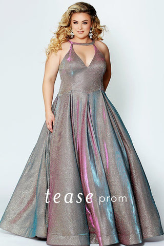 TE1924 super trendy holographic gold with pink and blue sheen shimmer fabric; plus size prom gown with full a-line pleated skirt. detailed neckline for out of this world look