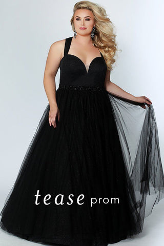 TE1925 onyx black plus size ball gown with shimmer sweetheart bodice, tulle skirt ; criss-cross straps in the back