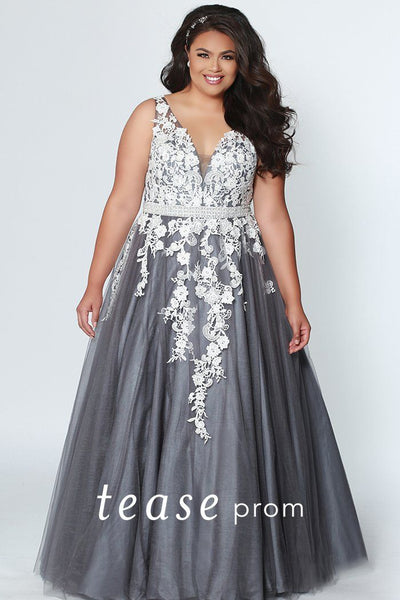 TE1927 two-tone plus size ball gown in white lace over gunmetal, champagne or black; bra-friendly straps, sexy v-neckline, heavily beaded belt, tulle skirt and center-back zipper