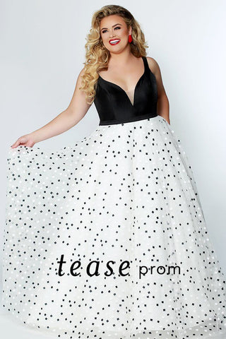 TE1929 stunning black and white square polka dot print a-line skirt for plus size prom