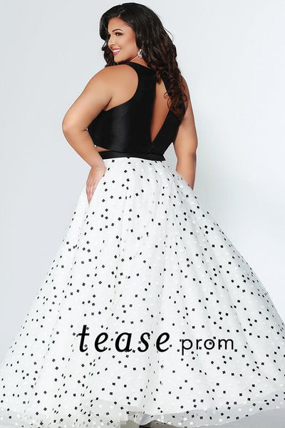 TE1930 two piece keyhole cut out prom dress; black crop top is paired with full a-line black and white polka dot square print skirt; plus size