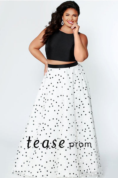 TE1930 two piece keyhole cut out prom dress; black crop top is paired with full a-line black and white polka dot square print skirt
