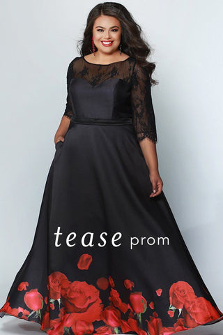 TE1934 black dress with large red floral detail at skirt hem; 3/4 lace sleeves and solid black beaded belt