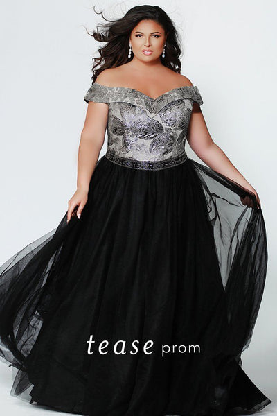 TE1935 romantic plus size ballgown with off-the-shoulder straps and beaded belt; available in black with silver metallic embroidered bodice
