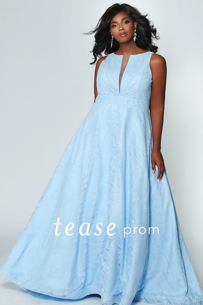 TE1936 baby blue, blush or black floral and geometric lace gown with high neckline and deep v-cutout; deep v-back and center-back zipper