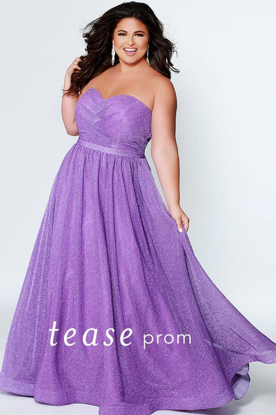 TE1937 in purple lilac, emerald green, jet black or sapphire blue; shimmer stretch mesh strapless ballgown with pleated bodice, self belt and pockets; optional straps and center-back zipper
