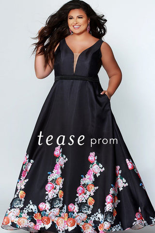 TE1939 black classic plus size a-line formal dress with floral pattern hem