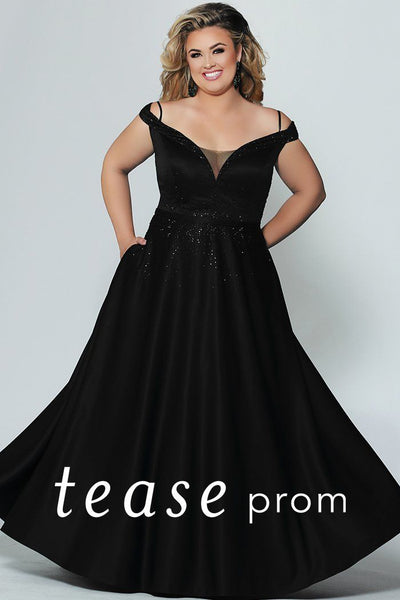 TE1941 plus size black or emerald formal gown; elegant with beaded portrait collar, natural waistline and pockets on an a-line skirt