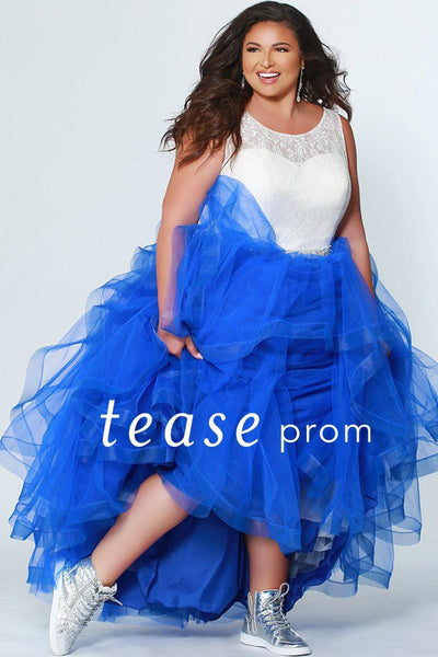 TE1946 cobalt blue tiered prom gown with ivory/white illusion and lace bodice, beaded belt and tiered layered tulle skirt