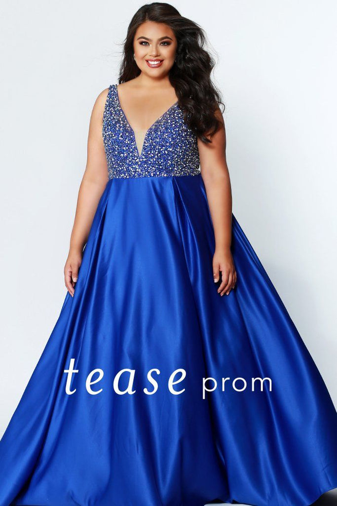 fe598342a63 TE1941 heavily beaded sapphire blue plus size formal gown