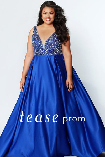 TE1941 heavily beaded sapphire blue plus size formal gown, exquisite satin skirt with pleats; fully covered back, center-back zipper