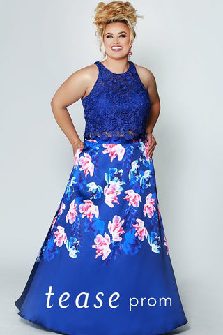 TE1949 navy floral two-piece prom dress with lace crop top, pink and white floral print over navy skirt and pockets
