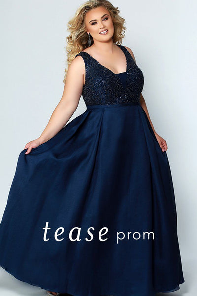 TE1950 elegant prom or formal gown with bra-friendly straps, lined heavily beaded bodice and full a-line skirt