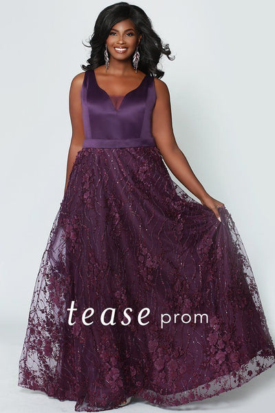 TE1952 in purple, plum bra-friendly bodice with self satin belt; a-line skirt with floral decals on tulle, center-back zipper