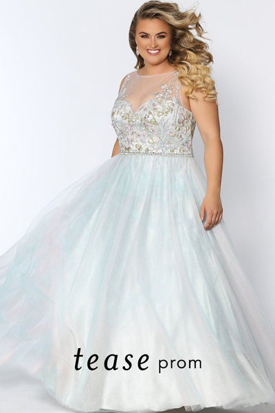TE2002 lace and tulle plus size dress with illusion scoop neckline, floral embroidered bodice and soft pastel colored tulle skirt.
