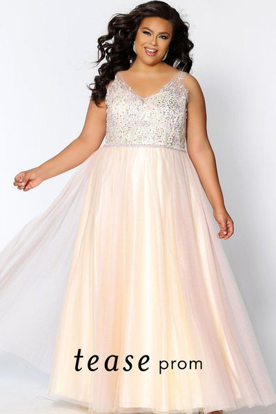 TE2003 lace and tulle plus size dress with V-neckline, floral embroidered bodice and soft pastel colored tulle skirt with beaded belt.