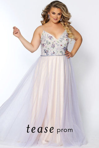 TE2004 lace and tulle plus size dress with V-neckline, floral embroidered bodice and soft pastel colored tulle skirt with beaded belt.