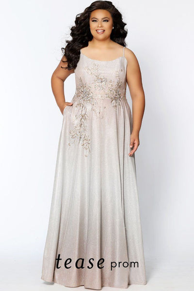 TE2006 ombre designed plus size formal dress with modified scoop neckline, spaghetti straps and floor length skirt with pockets.