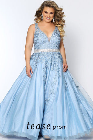 TE2008 plus size lace and tulle dress in Blue or Mauve with a V-neckline, bra-friendly straps, full A-line skirt and beaded waistline.