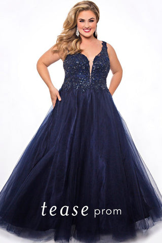 TE2010 plus size prom dress in mocha, navy, slate or wine has a deep V-neckline, bra-friendly straps, tone on tone beading and full A-line tulle skirt.