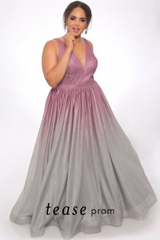 TE2012 ombre colored plus size dress in purple, gold or rose.  V-neckline with bra-friendly straps and full pleated floor length skirt.