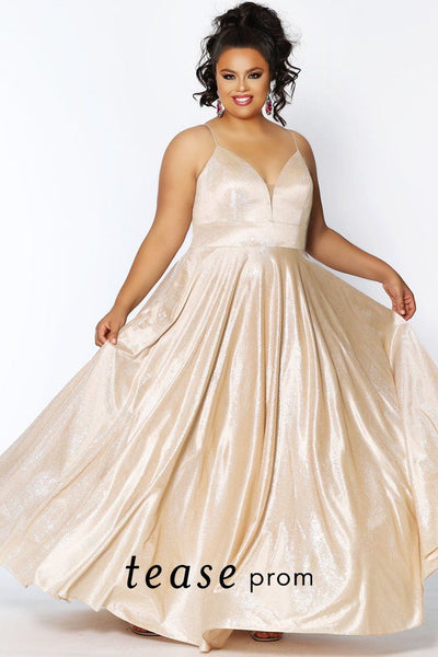 TE2014 shimmer satin knit prom dress with V-neckline, spaghetti straps and full A-line skirt with pockets. Available colors: Pink, Blue and Gold.