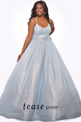 TE2015 plus size formal dress in Ice Blue.  Semi-sweetheart neckline with a duo spaghetti strap design and full A-line skirt with center-back zipper.