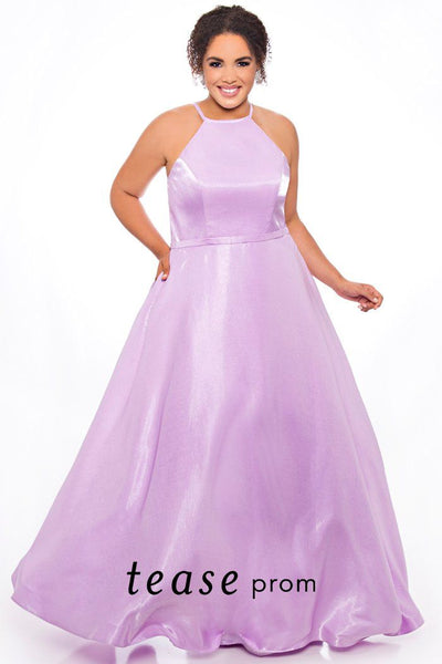 TE2016 plus size satin prom dress with a halter neckline, full A-line skirt with pockets and lace-up back design. Available colors: lilac or light blue.