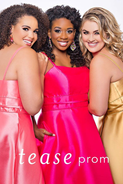 TE2017 in gold, melon or hot pink plus size satin dress with spaghetti straps, straight across neckline, full satin skirt with slit and pockets.