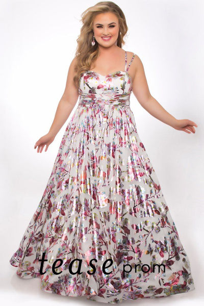 TE2018 metallic floral plus size dress with sweetheart neckline, duo designed spaghetti straps, unique metallic satin fabric with full skirt.