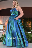TE2019 metallic shimmer plus size prom dress in pink, blue/green or ice blue has a halter neckline, key-hole lace-up back and two-tone shimmer floor length skirt with pockets.