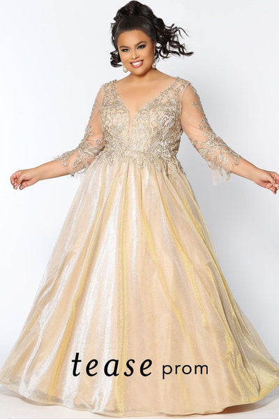 TE2025 gold shimmer plus size formal dress with embroidered V-bodice, 3/4 sleeves and gold glitter chiffon ball gown skirt with lace-up back.