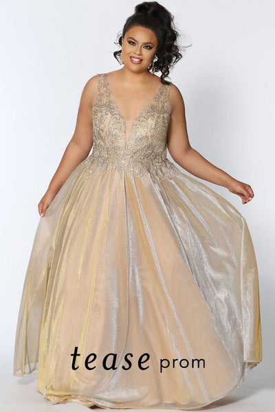 TE2026 gold shimmer plus size formal dress with embroidered V-bodice, tone on tone beading and a gold glitter chiffon ball gown skirt with lace-up back.