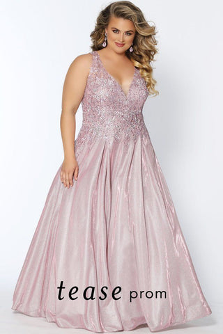 TE2027 in dusty rose or slate plus size prom dress with a embroidered V-bodice, embellished pewter beading and shimmer knit full A-line skirt.