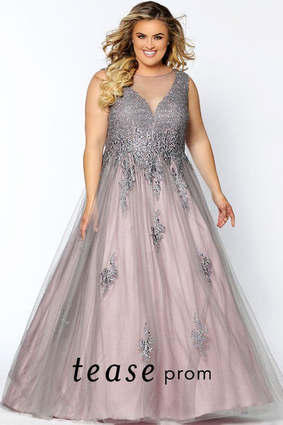 TE2028 plus size mauve and grey formal dress with illusion scoop neckline, V-bodice embellished with pewter beading and floral design. Floor length tulle and satin A-line skirt.