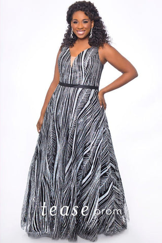 TE2031 dramatic silver and black plus size sequin dress with V-neckline, bra-friendly straps, A-line skirt and black satin belt.