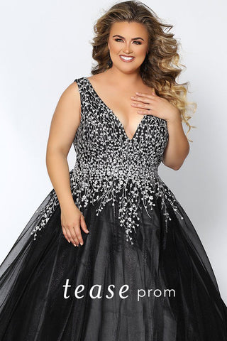 TE2033 plus size ball gown with a deep V-neckline, bra-friendly straps, bodice with silver floral appliques, lace-up back with a full ball gown chiffon skirt.