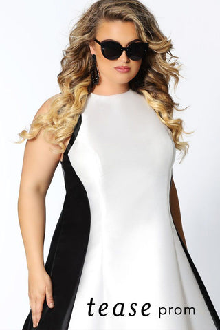 TE2034 black and white color blocked chic A-line dress.  High scoop neckline with racer back design. White satin down the middle framed by black satin on the sides and back of skirt.