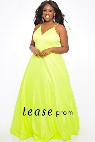 TE2037 plus size Mikado satin prom dress is bright highlighter colors such as yellow, purple and watermelon. V-neckline with adjustable spaghetti straps, full A-line skirt with pockets.