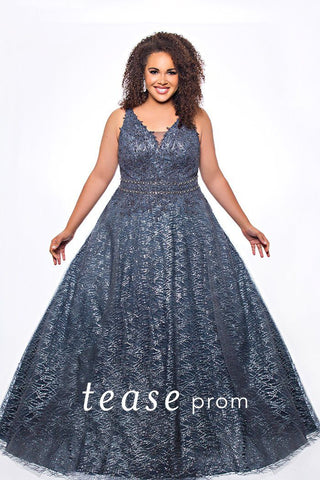 TE2044 glitter tulle plus size prom dress in carnation pink, gunmetal or jade green. V-bodice with bra-friendly straps, beaded belt design and floor length A-line glitter tulle over satin skirt.