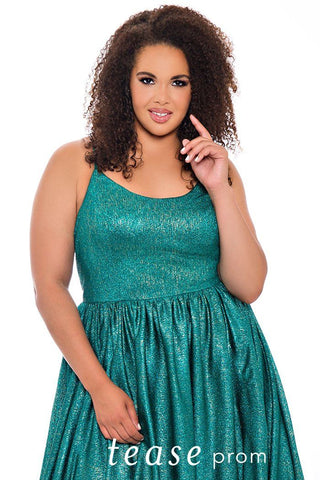 TE2045 metallic shimmer knit plus size prom dress in Emerald or Sapphire.  A-line silhouette with scoop neckline, spaghetti straps and full pleated shimmer knit skirt with pockets.