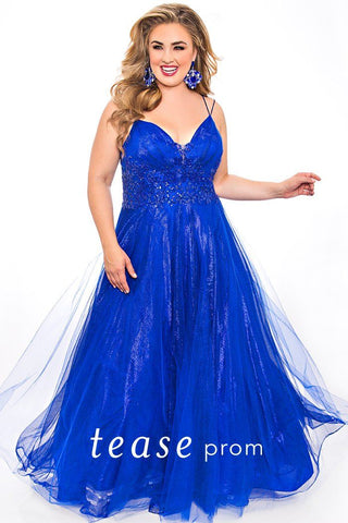 TE2046 plus size prom dress in black, cobalt or teal with shimmer tulle and satin.  V-bodice with tone on tone beading, duo spaghetti strap design and A-line tulle over satin skirt.