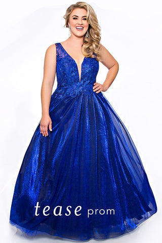 TE2050 plus size Sapphire glitter chiffon ball gown.  Deep V-neckline, bra-friendly straps, lace-up back and glitter chiffon floor length ball gown skirt.