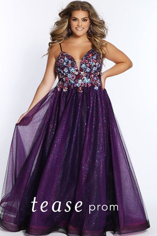Prom Dress TE2101 by Sydney's Closet A-line with spaghetti straps and zipper back with floral appliques on bodice available in blue and purple