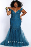 Prom Dress TE2104 by Sydney's Closet fitted mermaid with low langing shoulder straps and sparkly tulle under the knee with a lace up back and v-neck available in cobalt and teal