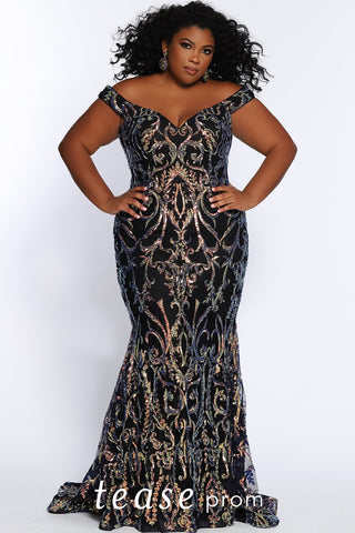 Prom Dress TE2105 by Sydney's Closet fitted mermaid with low hanging shoulder straps and heavy colorful sequin pattern all over the dress above black fabric with a zipper back and v-neck available in gold and peacock